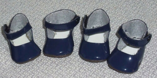 2 pair DOLL SHOES Navy Patent Maryjanes fit Baby Face Galoob Tubbies & more!