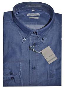 CAMICIA-UOMO-Jeans-taglia-M-L-XL-XXL-XXXL-100-cotone-tela-leggera-blu-scuro