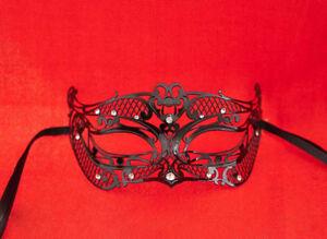 Maschera Pizzo Di Metallo Di Venezia Lui Con Strass Travestimento Nero 739