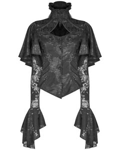 Punk-Rave-Womens-Gothic-Blouse-Top-Shirt-Black-Brocade-Lace-Steampunk-Vampire