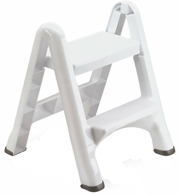 Surprising Step Stool Folding 2 Tier Ladder Non Slip Lightweight Portable Sturdy Home White Gmtry Best Dining Table And Chair Ideas Images Gmtryco