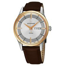 Eterna Men's Artena Silver Dial Brown Leather Strap Quartz Watch 2525.53.11.1344