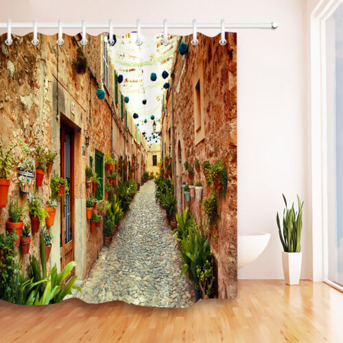 "Retro alley 72x72/"" Bath Shower Curtain 12 Hooks Set or Bathroom Mat Fabric Decor"