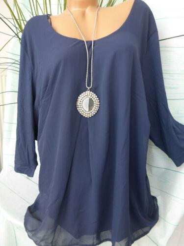 Sheego Damen Bluse Tunika Chiffon Gr 56//58 Lagen Look Blau 458