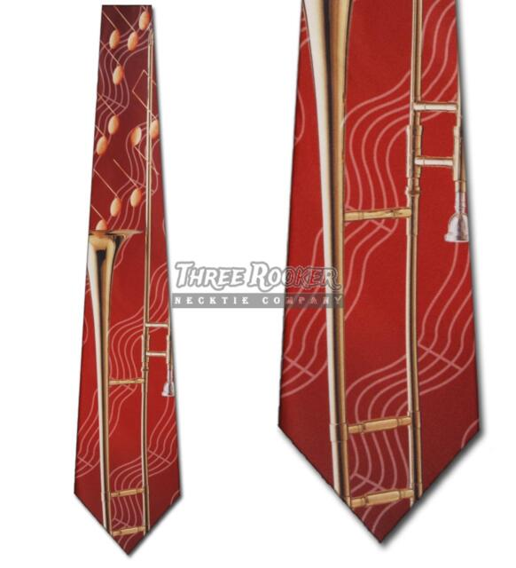 Free Shipping Trumpet On A New Navy Blue Polyester Neck Tie