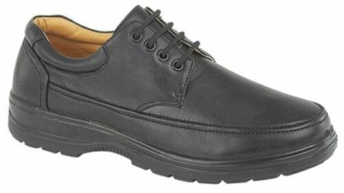 MENS GENTS SIZE 6 7 8 9 10 11 12 BLACK FAUX LEATHER LACE UP CASUAL WORK SHOES