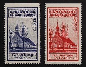 Centenaire-de-St-Jerome-Quebec-1934-MH-Bleu-rouge-Cinderella-set-2