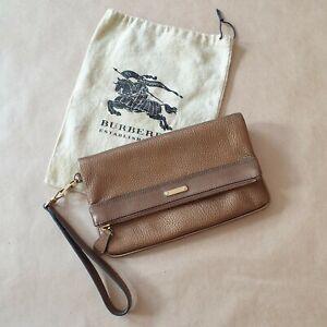Womens leather clutch Burberry, small gold handbag, hand purse
