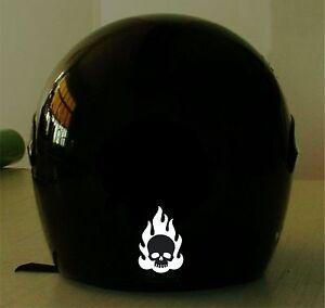 FLAMING SKULL REFLECTIVE MOTORCYCLE HELMET DECAL FOR PRICE - Reflective helmet decals