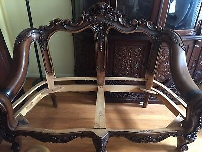 Carved Teak Wood Sofa Set Frame Only 1 Sofa 1 Loveseat 2 Chairs Ebay