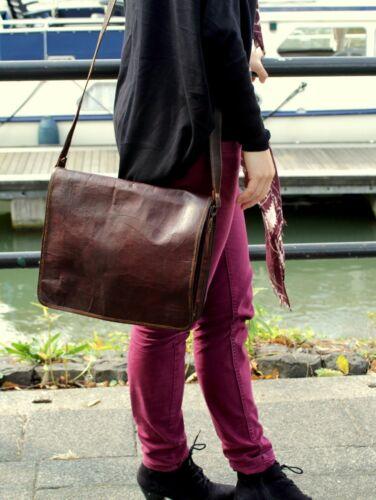 """13/"""" New  Men/'s Vintage Leather Full Flap Messenger Laptop Satchel Shoulder Bag"""
