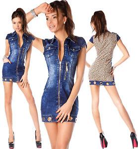 Sexy-NEU-DAMEN-JEANS-Jeans-Mini-Leo-Kleid-Doppel-Look-M-923