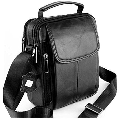 Noir 7029 A cuir vachette Sac sacoche homme– Porté main ou épaule