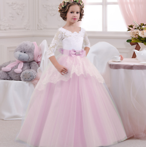 f4498adc55a Kids Flower Girl Bow Princess Dress for Girls Party Wedding ...
