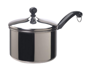 Farberware Classic 3 Qt. Stainless Steel Saucepan w  Lid, Aluminum Core Cookware