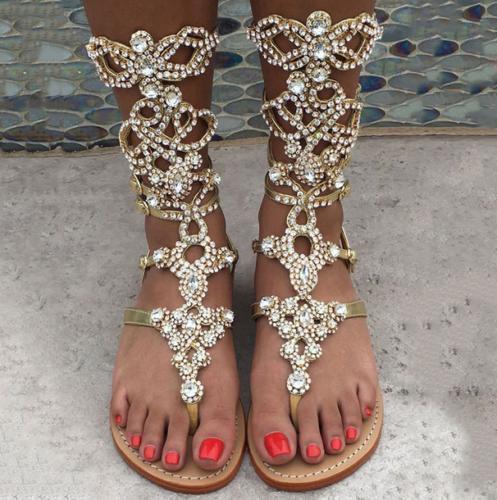 donna Gladiator Sandals Rhinestone Rhinestone Rhinestone Flats Roman Beach Thong Sandals stivali Plus SZ fc1f52