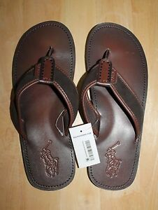 26c9f39b9717 Image is loading Ralph-Lauren-Men-Big-Pony-Leather-Flip-Flops-