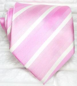 Cravatta-Rosa-righe-bianche-Uomo-100-seta-Made-in-Italy