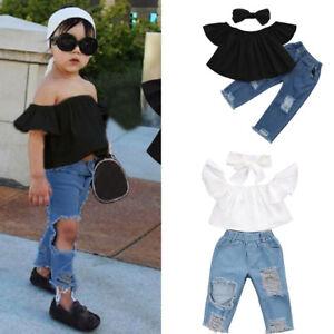 b3fa733a0efda Toddler Infant Kids Baby Girls Off shoulder Tops+Hole Denim Jeans ...