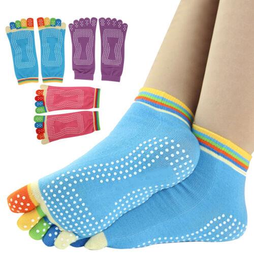 UK SELLER Yoga Socks Non Slip Pilates Massage 5 Toe Socks with Grip 6 COLOURS