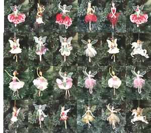 GISELA GRAHAM CHRISTMAS RESIN SILVER SHEER FABRIC FAIRY ANGEL DECORATION