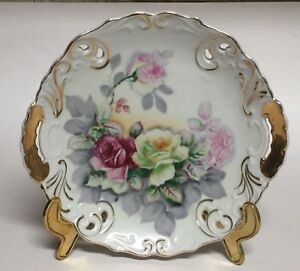 Arnart Porcelain Decorative Cabinet Plate Floral Pattern Import from Japan 7419