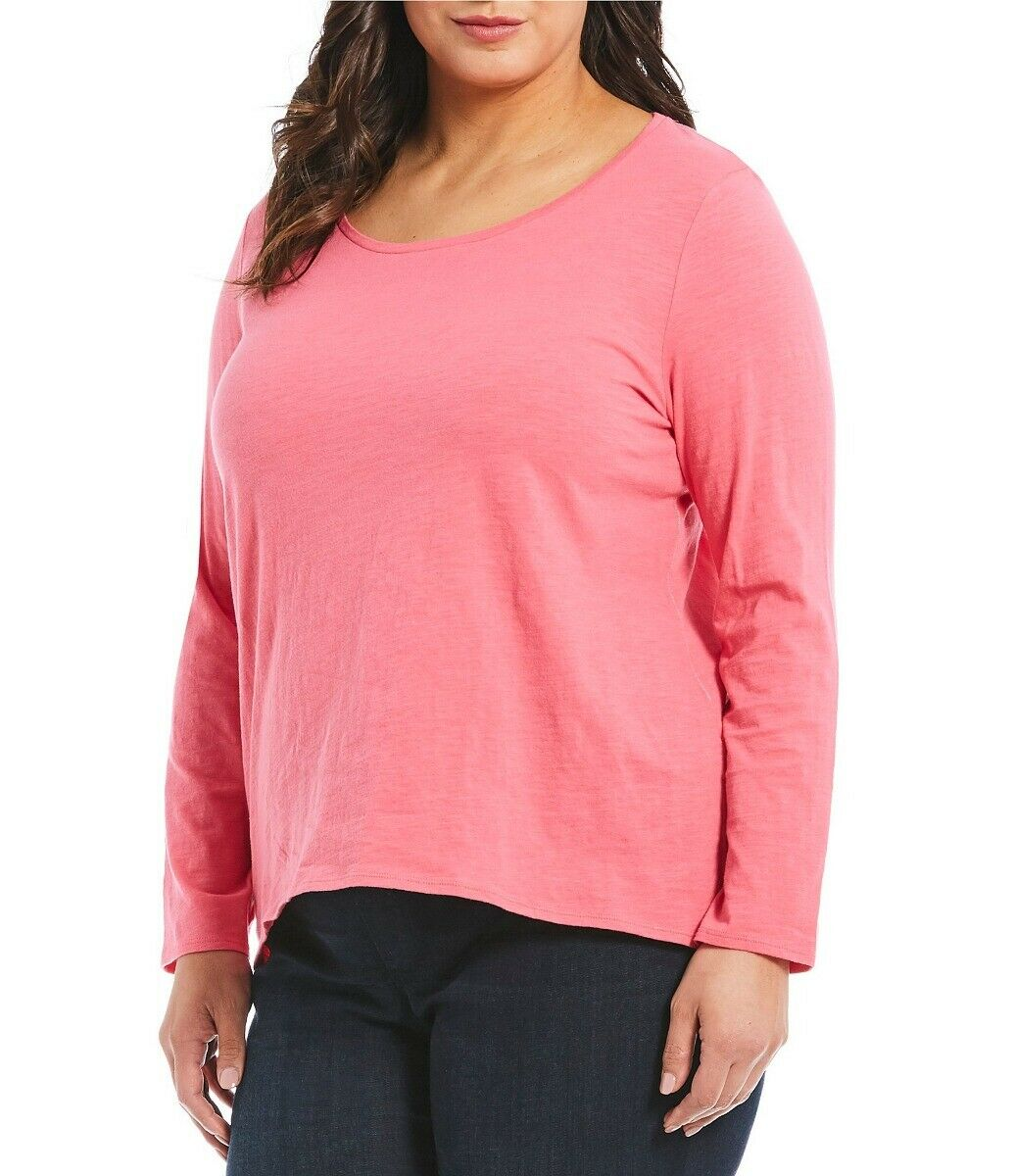 Eileen Fisher Hot Rosa Slubby Organic  Cotton Jersey Wide Neck Top sz 2X NWT