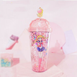 Sailor-Moon-Tsukino-Usagi-Star-Quicksand-Cup-Drinking-Cup-Double-Walls-Straw