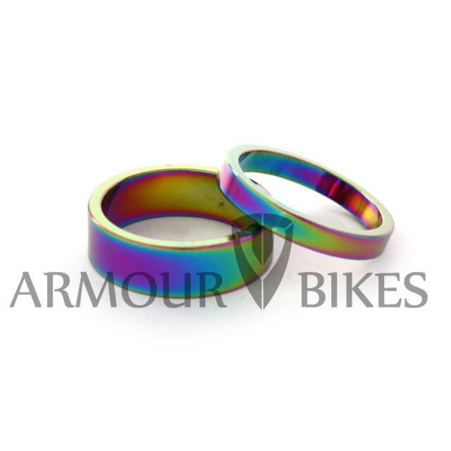 Aerozine Super Lightweight bicycle headset spacers 3pc Set 1-1//8 5mm 10mm PINK