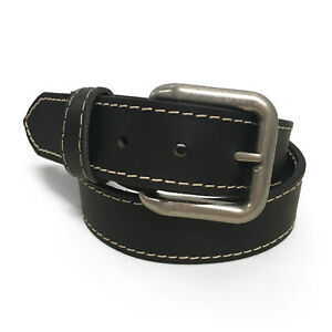 "1 1/2"" Handmade Solid Buffalo Leather Belts Stitched Edges - Sizes 26-46"