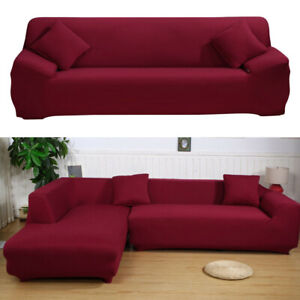 Details about Red Wine Fabric Stretch 3-seater Sofa Cover Universal  Polyester Couch Slipcover
