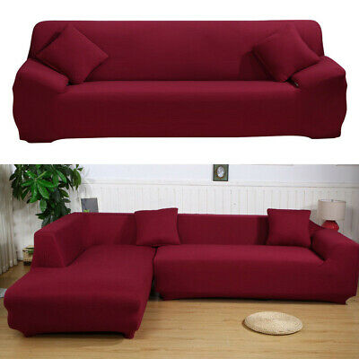 Red Wine Fabric Stretch 3-seater Sofa Cover Universal Polyester Couch  Slipcover | eBay