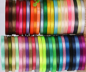 50 ROLLS OF New SATIN RIBBON, 50 Colours, 25 YARDS Each Size 6MM RRP £45.00 5081952889078
