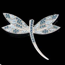 Big w Swarovski Crystal Blue DRAGONFLY Bridal Wedding Bouquet Jewelry Pin Brooch