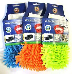 4-x-Microfaser-Mikrofaser-Handschuh-Waschhandschuh-Autowaschhandschuh