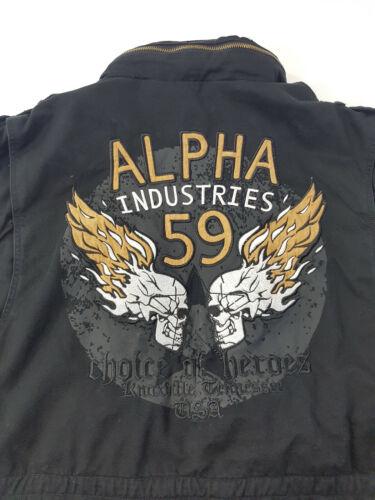 Originale Alpha Industries Veste De Champ BURNING SKULL ARMY TETE DE MORT PUNISHER 59