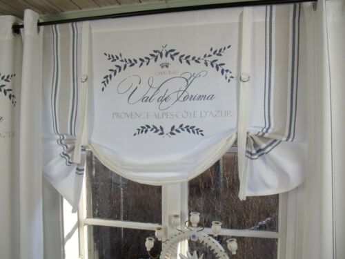 Raff Gardine MAJE BLAU Rollo 140x90 weiß LillaBelle Shabby Landhaus Curtain
