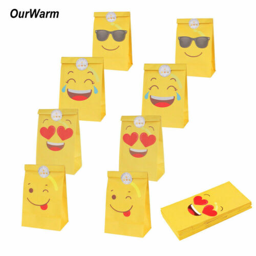 12xBirthday Party Emoji Paper Gift Bags Baby Shower Treat Candy Bag with Sticker