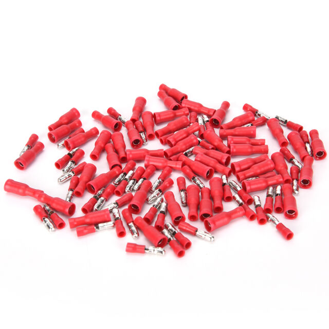 100X male & female red insulated bullet connector terminals 22-16awg wire FF