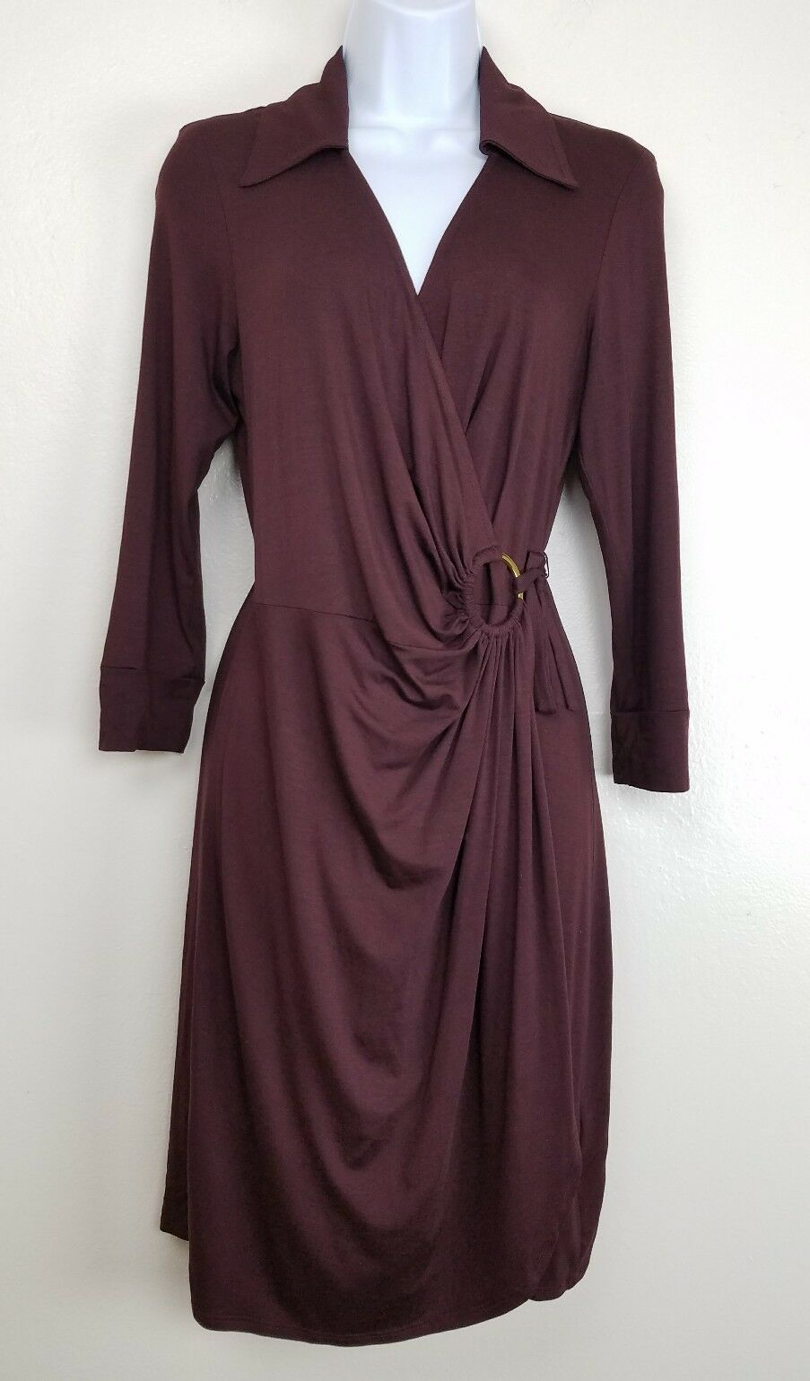 Trina Turk Burgundy Mahalo Wrap Dress 3 4 Sleeve Collar Viscose damen Größe 6