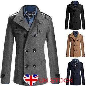 Mens-Double-Breasted-Blazer-Winter-Trench-Coat-Peacoat-Long-Overcoat-Windbreaker