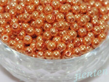 Wholesale150pcs 6mm Acrylic Pearl Round Spacer Loose Beads Orange colour