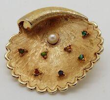 Vintage Mid Century Capri Shell & Pearl Brooch / Pin