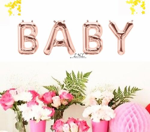 Rose Gold Balloons Baby Shower Gender Reveal Party Decor Set Foil Letter Balloon