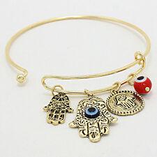 Hamsa Charm Bangle Bracelet GOLD RED Protect Hand Evil Eye Protection Jewelry