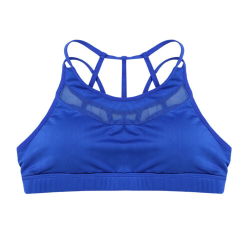 Women/'s Yoga High Impact Mesh Wireless Padded Cup X-back Gym Active Sports Bra