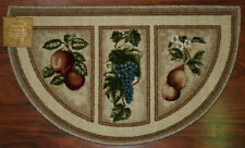 Superbe 19X32 Slice Wedge Kitchen Rug Mat Beige Tan Washable Mats Rugs Fruit Grapes  Pear