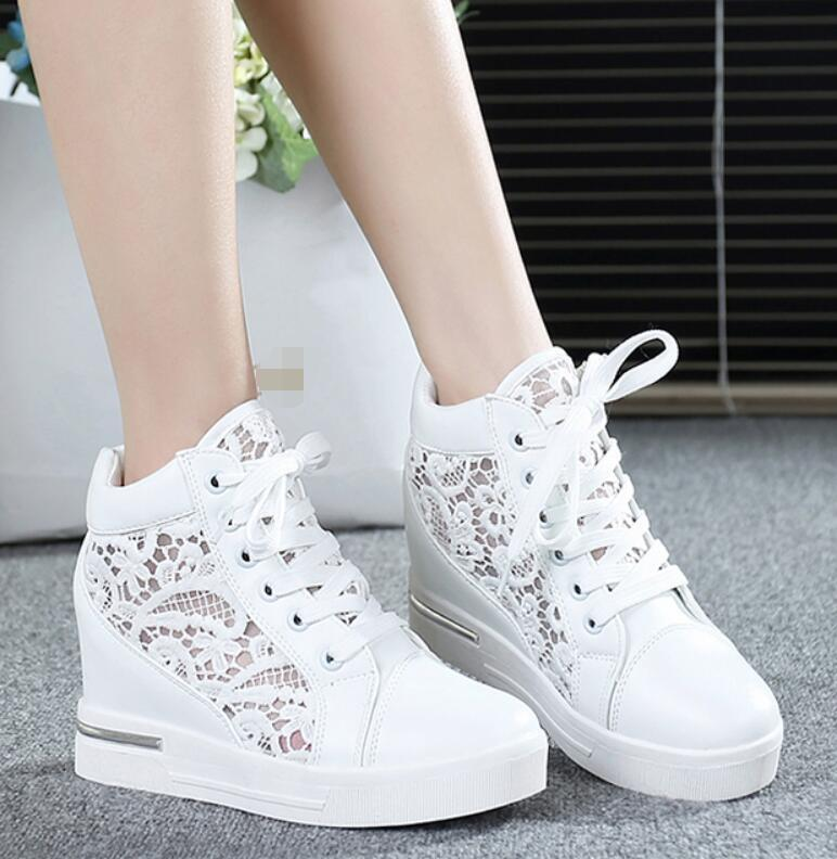 Womens Round Toe Hollow Platform Wedge shoes Lace Up High Top Sneakers Loafers N