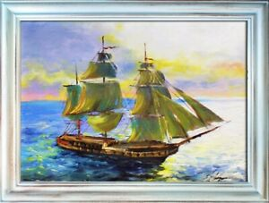 Painting-Sea-Handmade-Oil-Painting-Picture-Oil-Ships-Frame-Pictures-00514
