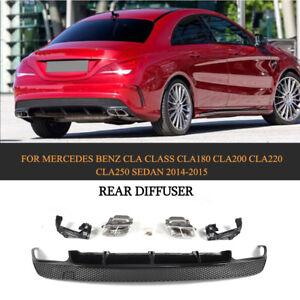 Fuer-Mercedes-CLA-45AMG-CLA250-Heckdiffusor-Diffusor-Auspuffblenden-Schwarz-Grill